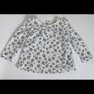Long sleeve fleece leopard print shirt